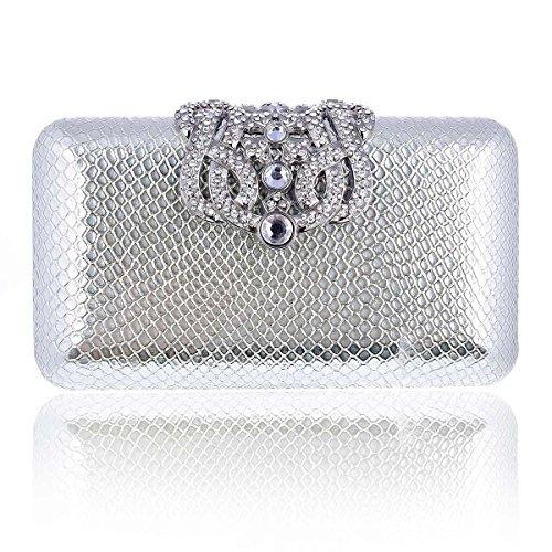 (Damara Lady Event Rhinestone Decorative Minaudiere Clutch Bag,Silver)
