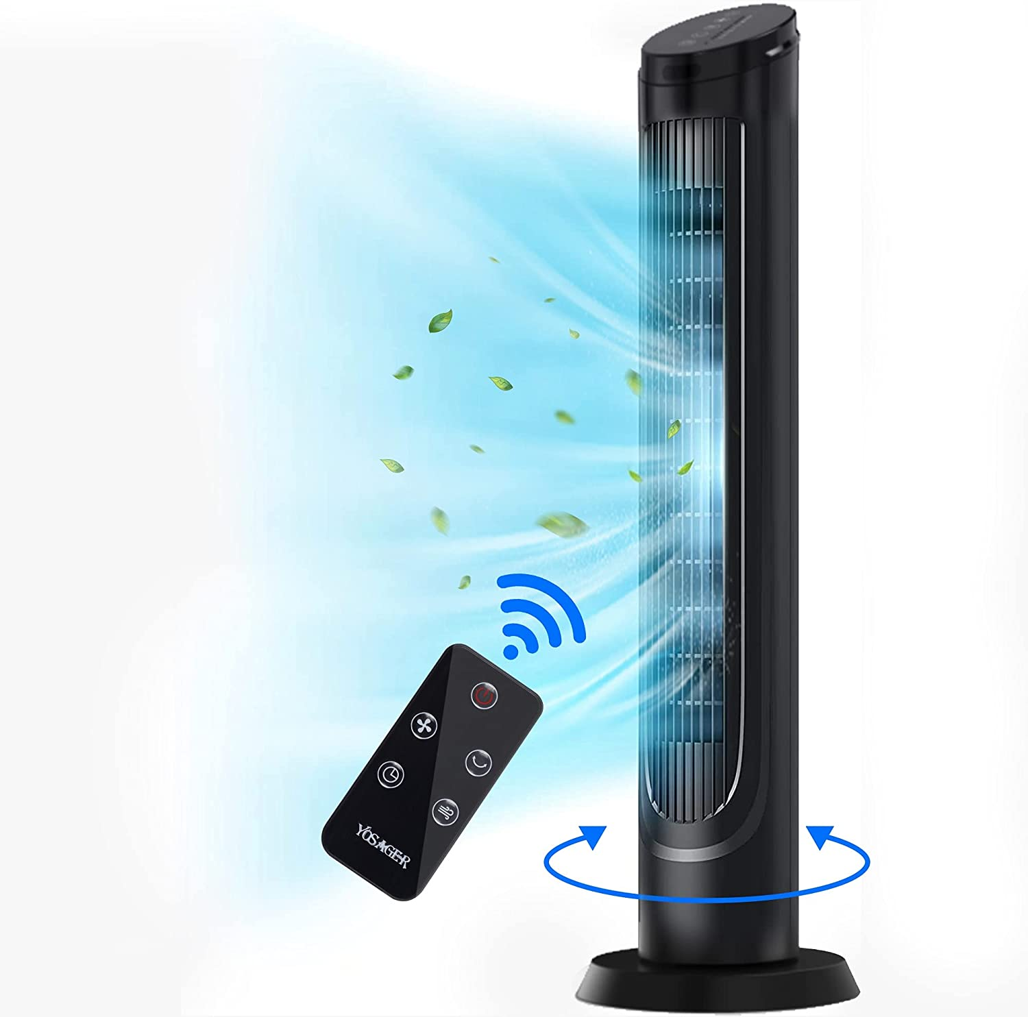 yosager Tower Fan, 40 Inch 90° Oscillating Cooling Fan Powerful Floor Fan with Remote, Touch Screen 3 Mode, 4 Speed, Stand up Tower Fan with Built-in Timer, Standing Fans for the Home Bedroom Office