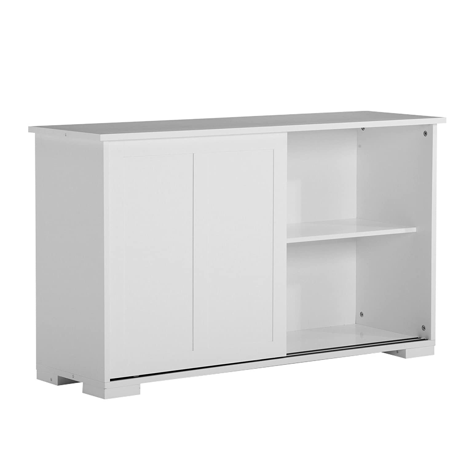 White Buffet Kitchen Cupboard Cabinet Sideboard W 2 Sliding Doors & 1 Shelf for Storage Allblessings