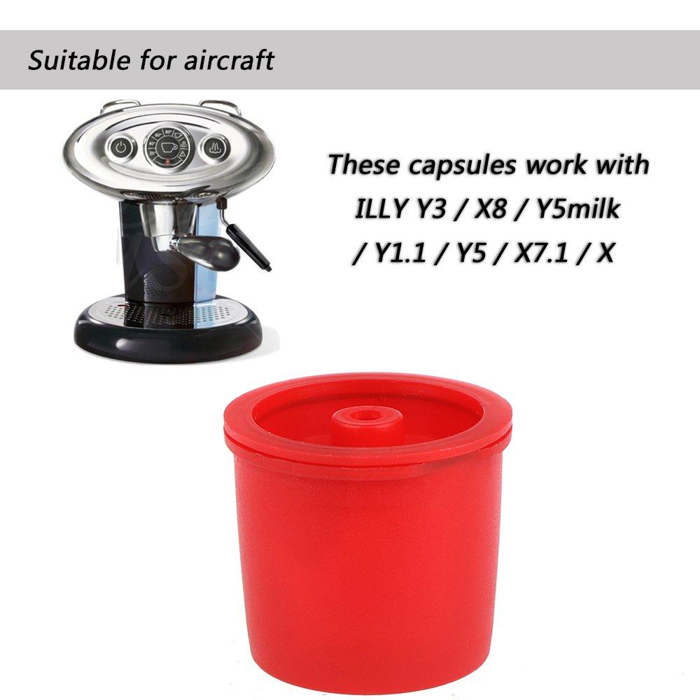 Recargables reutilizable filtro de café ILLY - juego de 2 Cápsulas de café ILLY Compatible con Illy Y3 X8 Y5 X7.1 X (con cuchara de café) rojo: Amazon.es: ...