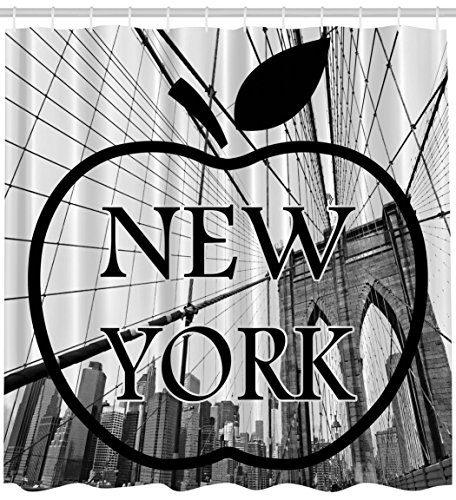 Nyc Big Apple - Ambesonne Americana Shower Curtain for Apartment Home Decor by, Cityscape NYC Big Apple I Love New York City View Manhattan Brooklyn Modern Art Prints Fabric Bathroom Set, Black and White