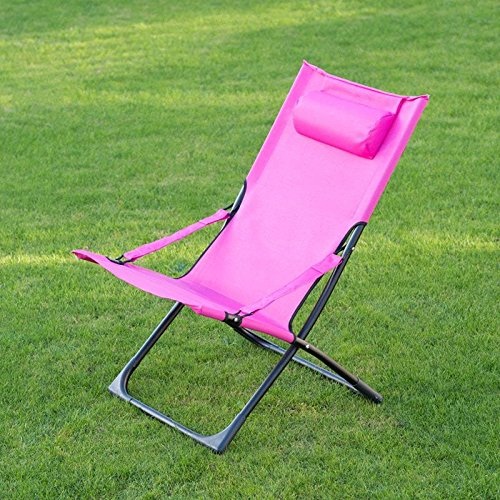 Alfresco Living Miami Funky Relaxer Deck Chair With Pillow- Pink Outdoor