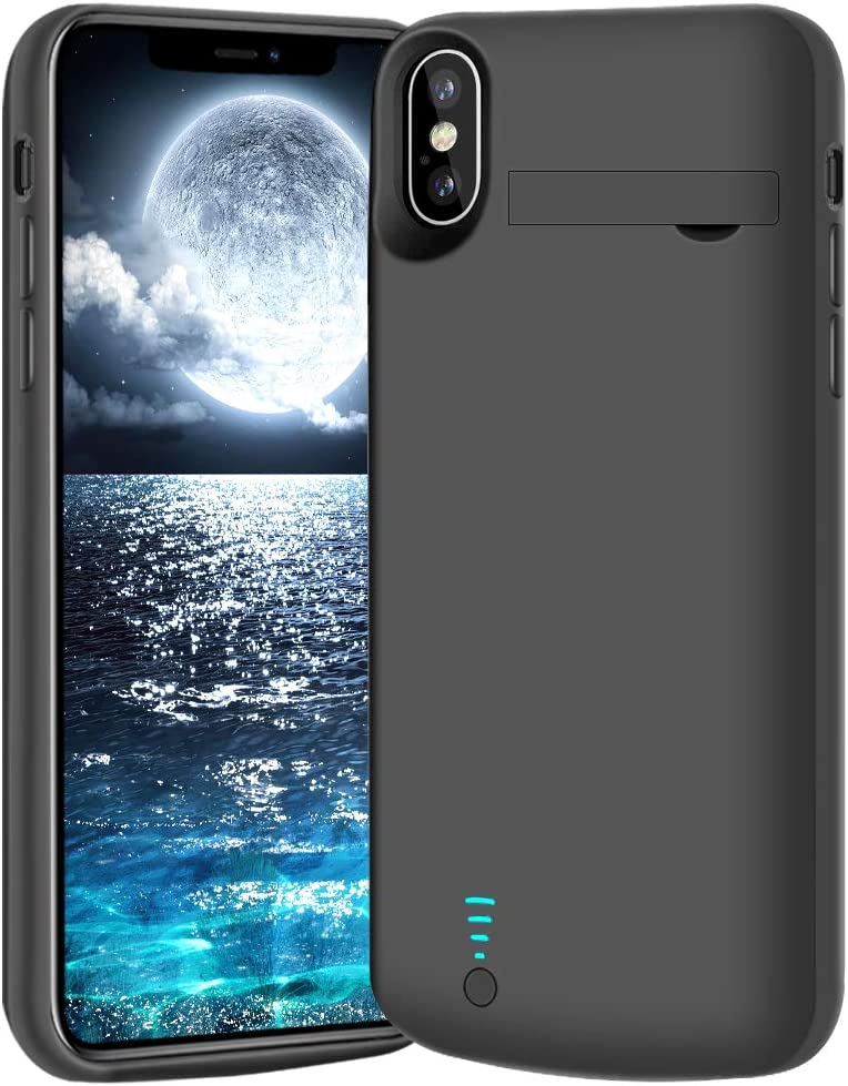 BAHOND Battery Case for iPhone X & iPhone Xs, 5000mAh Rechargeable Extended Battery Charging Charger Case, Add 2X Extra Juice, Support Wire Headphones (5.8 inch)