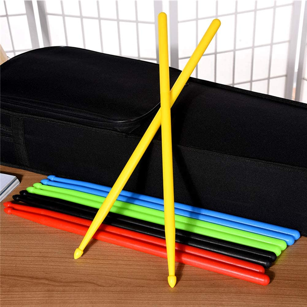 5 Pcs Multi-colors Jazz Drum Sticks Non-slip Durable Exercise Musical Instrument Accessories for Kids Professional Lightweight Nylon Drumsticks Set Fitness Aerobic Workout A