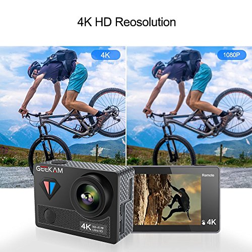 Digital Video Action Camera Live Streaming Touch Screen Underwater Cameras 4K 30fps HD WiFi Sports Cam 170 Wide Angle Remote Control Waterproof Camcorder 100ft with 2 Rechargeable 1350mAh Batteries by GeeKam (Image #3)