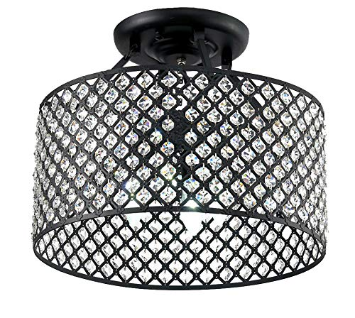 Diamond Life 4-Light Antique Black Round Metal Shade Crystal Chandelier Semi-Flush Mount Ceiling Fixture, 17-inch Wide