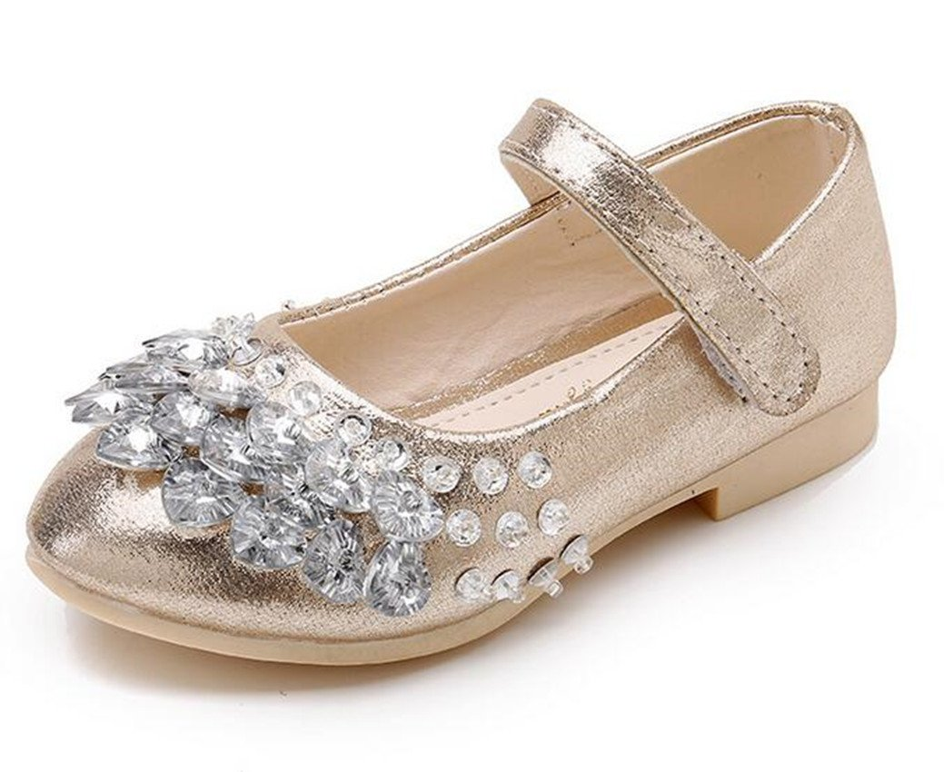 Bumud Toddler Little Girls PU Leather Dress Ballet Mary Jane Rhinestone Flat Shoes (13 M US Little Kid, Golden)
