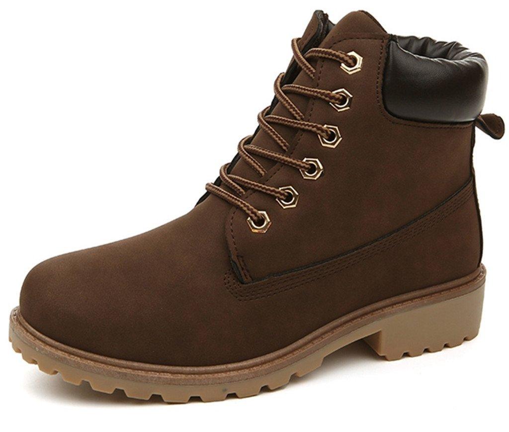 DADAWEN Women's Lace up Low Heel Work Combat Boots Waterproof Ankle Bootie Brown US Size 8.5