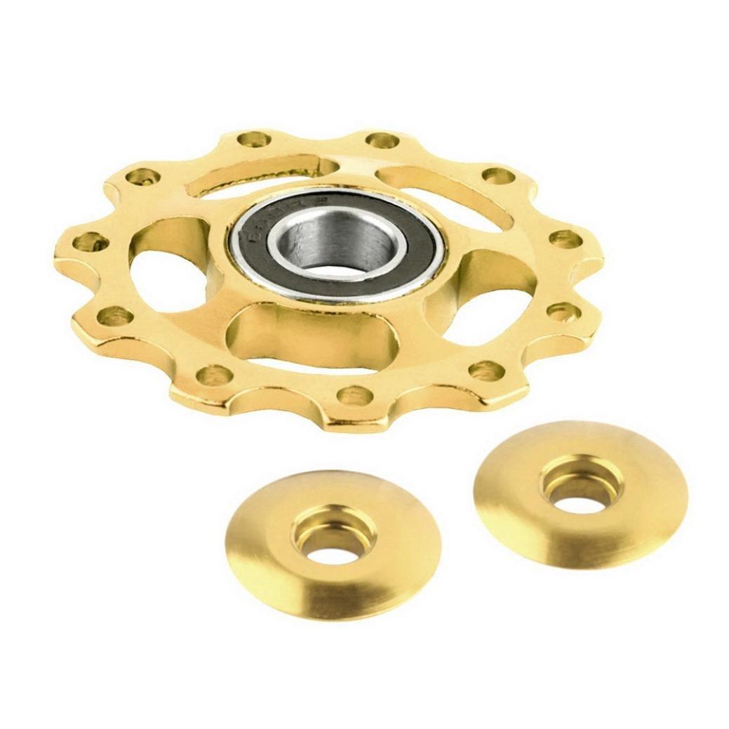 TONSEE 11Tooth MTB Ceramic Bearing Jockey Wheel Pulley Road Bicycle Bike Derailleur (Gold)
