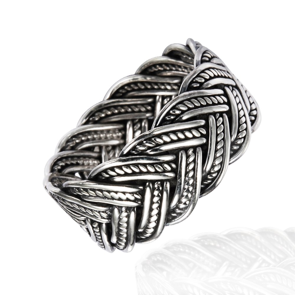 925 Oxidized Sterling Silver 10 mm Braided Woven Wave Antique Style Band Thumb Ring - Size 11 by Chuvora (Image #3)