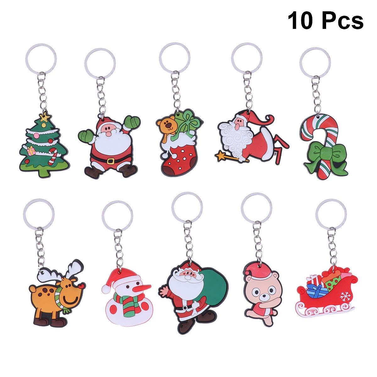 Amosfun 10pcs Keyring Keychain Christmas Car Keyring Purse Bag Pendant Decoration Christmas Birthday Gift for Friends