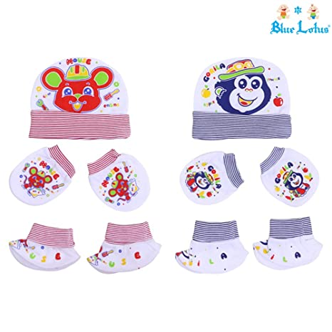 9a861680f Blue Lotus New Born Baby Cap Mittens and Booties Set in Multi Color ...