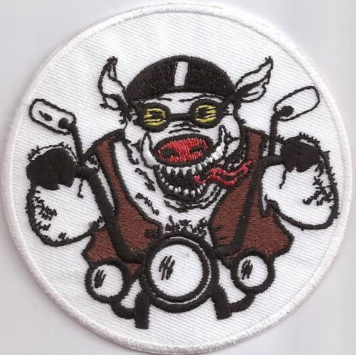 Biker Sau Rennsau HOG Rocker Pig Biker Patch Aufn/äher Abzeichen Aufb/ügler