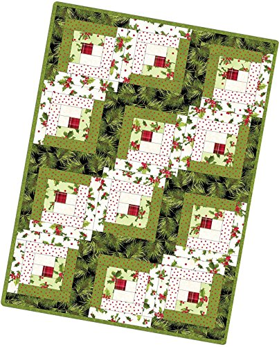 - Poinsettia & Pine Log Cabin Pod Quilt Kit Maywood Studio