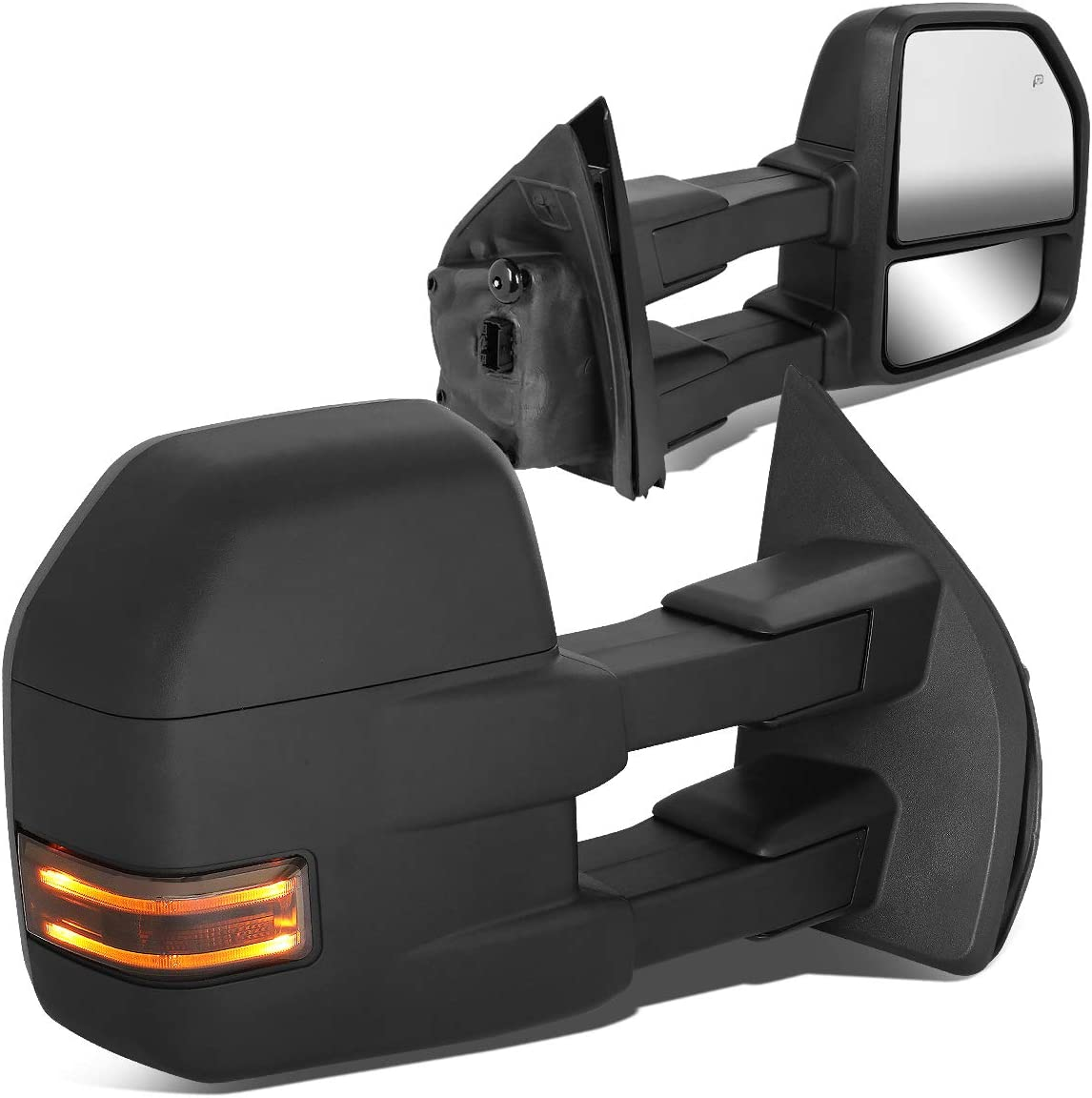 Pair Powered Side Rear View Towing Mirror w/LED Turn Signal for 15-18 Ford F150