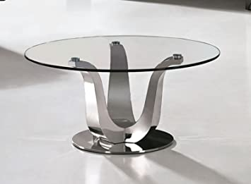 Modern Furniture Direct Stylish Silver Round Glass Coffee Table