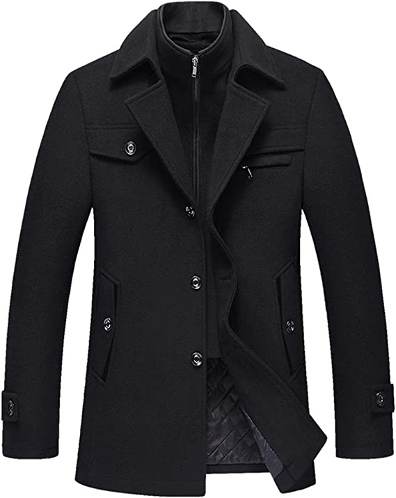 Allthemen Manteau Homme en Laine Chaud Court Epais Slim Fit