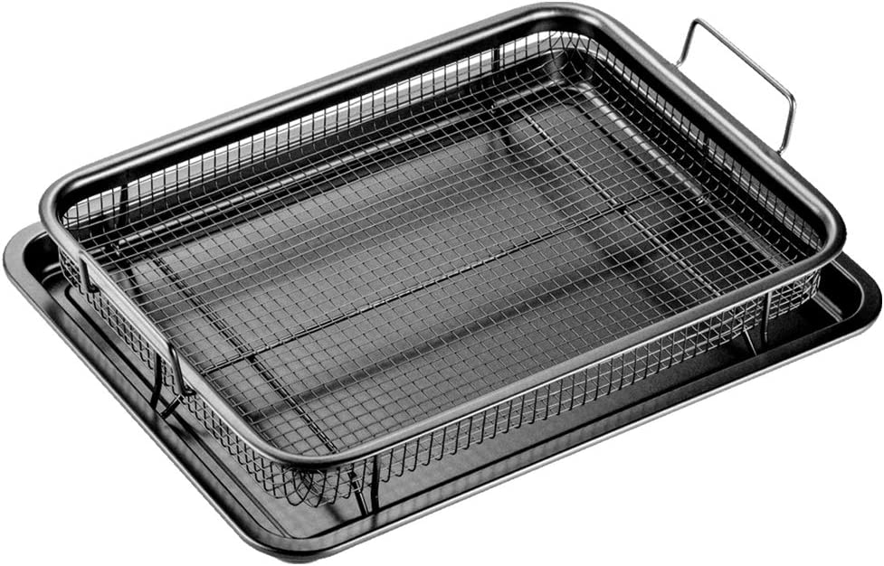SHAQ XL Crisper, Nonstick Bakeware Set with Air Fryer Pan and Baking Sheet for Oven; 2-piece, 18.5-Inch (Black)