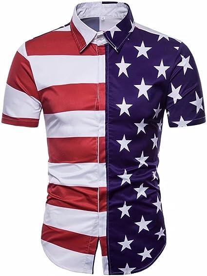 Daoroka Hombres Blouse, Casual Slim Manga Corta USA Suave Bandera Americana Impreso Verano Camisa Top Fashion Independencia Día Blusa: Amazon.es: Electrónica