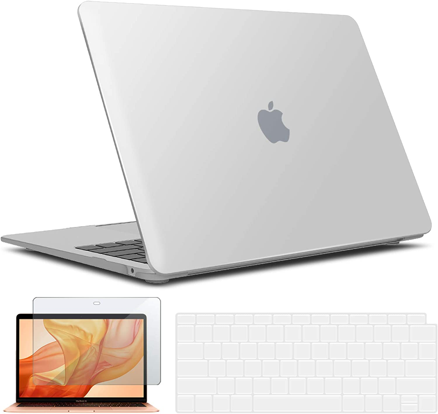 IBENZER New 2020 MacBook Air 13 inch Case M1 A2337 A2179 A1932, Hard Shell Case & Keyboard Cover & Screen Film for Apple Mac Air 13 Retina Display with Touch ID (2018-2020), Frost Clear, AT13CL+2