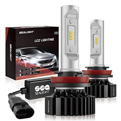 SEALIGHT H11/H8/H9 LED Headlight Bulbs X1 Series 12 CSP Chips 6000LM 6000K Xenon White Non-polarity: Automotive