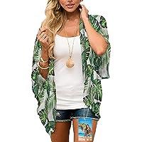 YULOONG Womens Cover Ups Chiffon Floral Print Kimono Loose Shawl Cardigan Boho Summer Casual Blouse Top Sexy Beach…