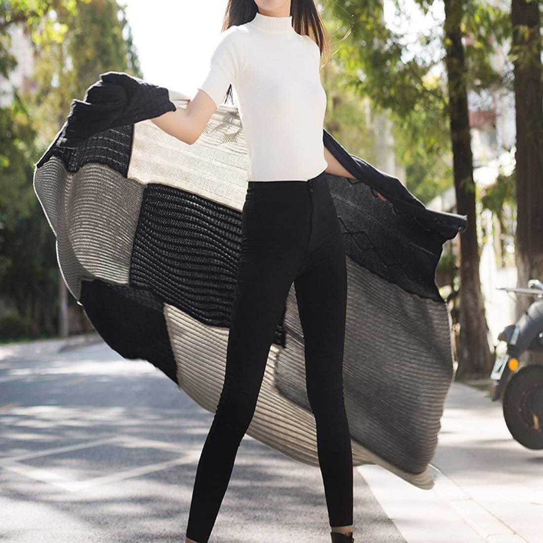 JOYS CLOTHING 総本店の喫茶店のために適した毛布のショールの創造的なステッチの毛布 (Color : ブラック) B07MKV9194 ブラック