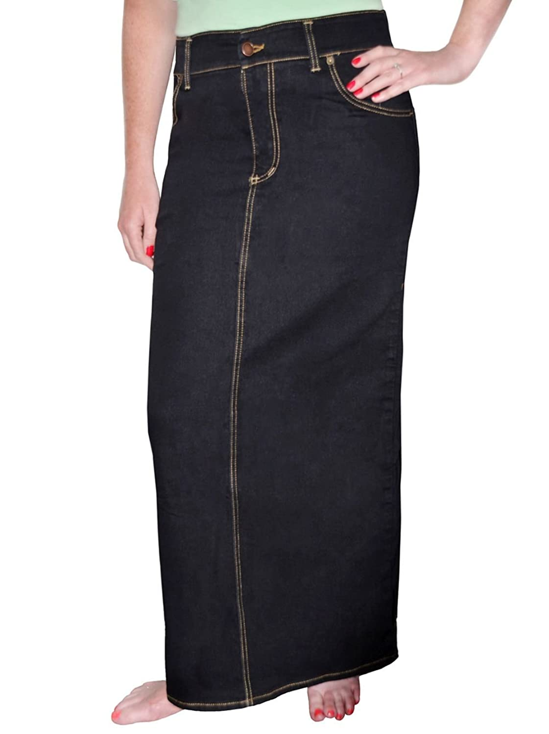 fa6ec1707a Classic straight maxi pencil jean skirt. internal elastic waistband offers  customizable sizing. Front button and zipper closure and belt loops.