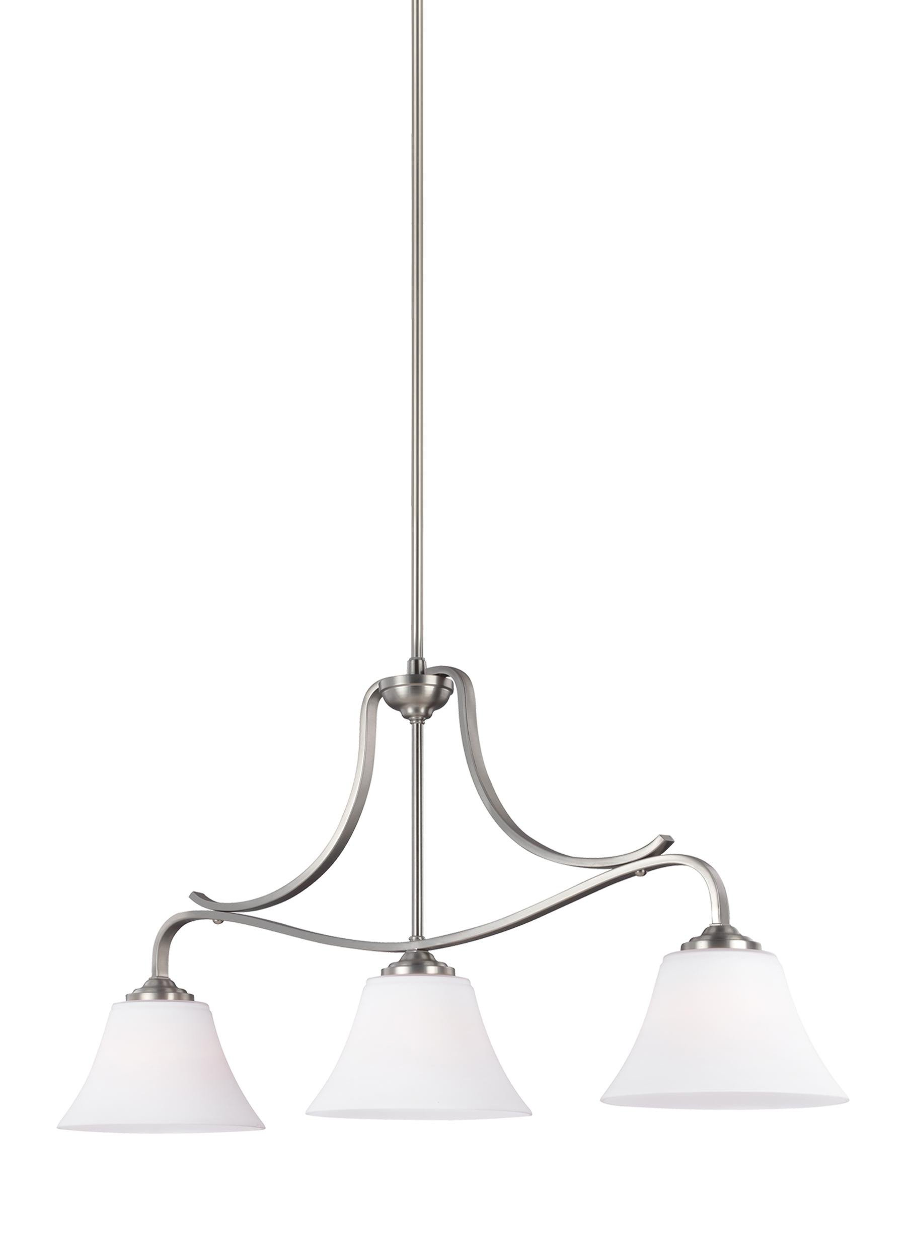 Feiss F3068/3SN Hamlet Island Chandelier with Glass Shades, 3-Light, Satin Nickel (10''W by 19''H)