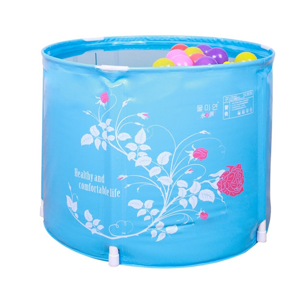 Children's Folding Inflatable Bathtub Blue Material: PVC Size: 58X45cm Bathtub