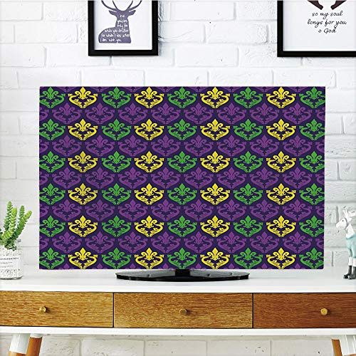 iPrint LCD TV dust Cover,Mardi Gras,Antique Old Fashioned Motifs in Mardi Gras Holiday Colors Tile Pattern,Purple Green Yellow,3D Print Design Compatible 47