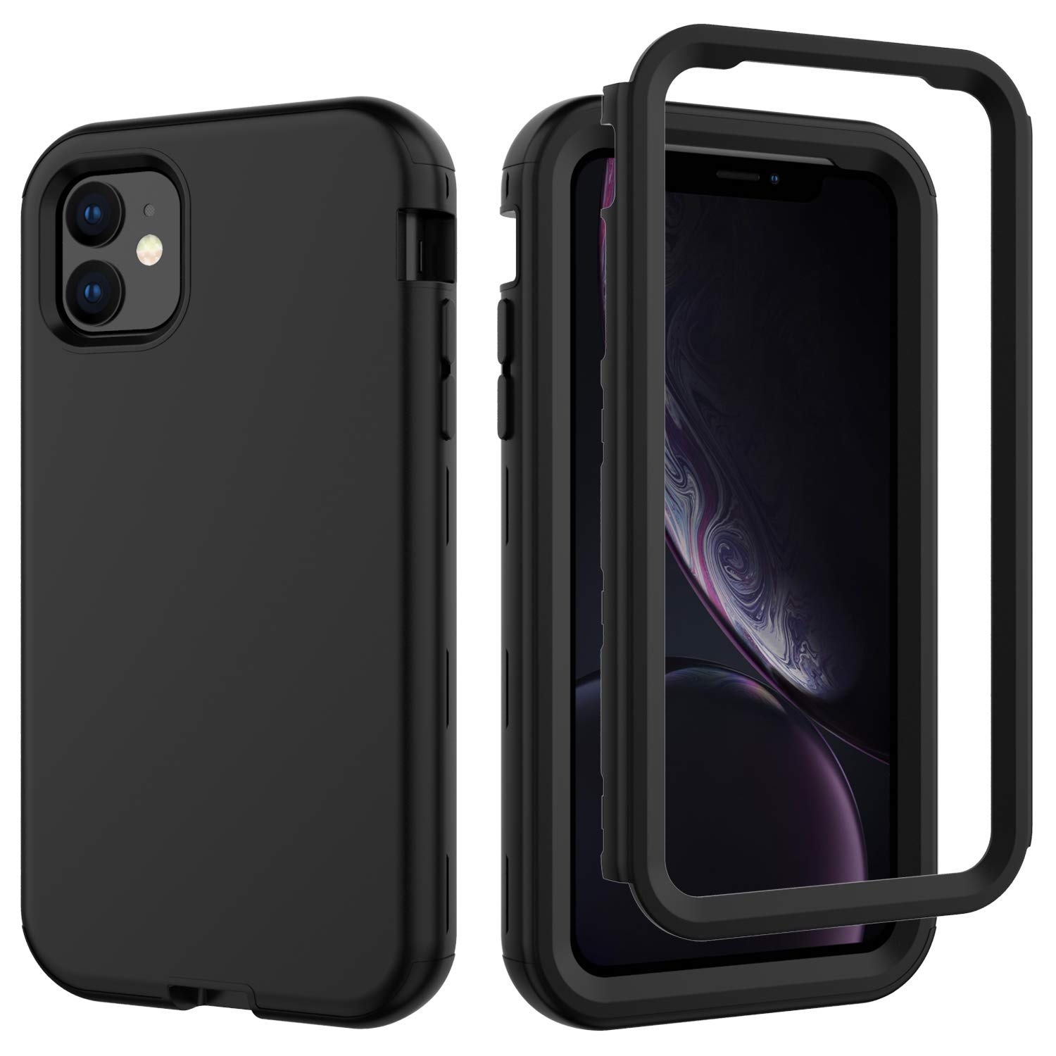 iPhone 11 2019 6.1 Inch Case, Ranyi Rugged Full Body Protection 3 in 1 Hybrid Bumper Shock Absorbing High Impact Heavy Duty Resilient Rubber Defender Case for Apple 2019 6.1 Inch iPhone 11 (Black) by Ranyi