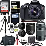 Canon EOS Rebel T6 DSLR Camera Kit, EF-S 18-55mm IS II Lens, EF 75-300mm III Lens, Polaroid Wide Angle, Telephoto Lens, 64GB and Accessory Bundle