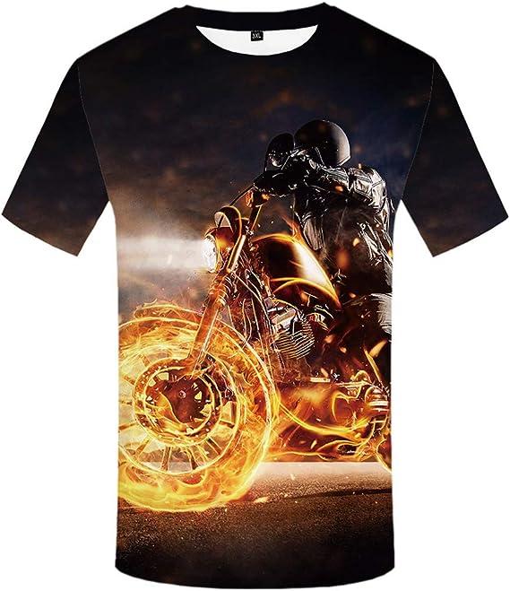 Zaima 2020 3D Flame Motocicleta Camiseta Hombre Casual Manga ...