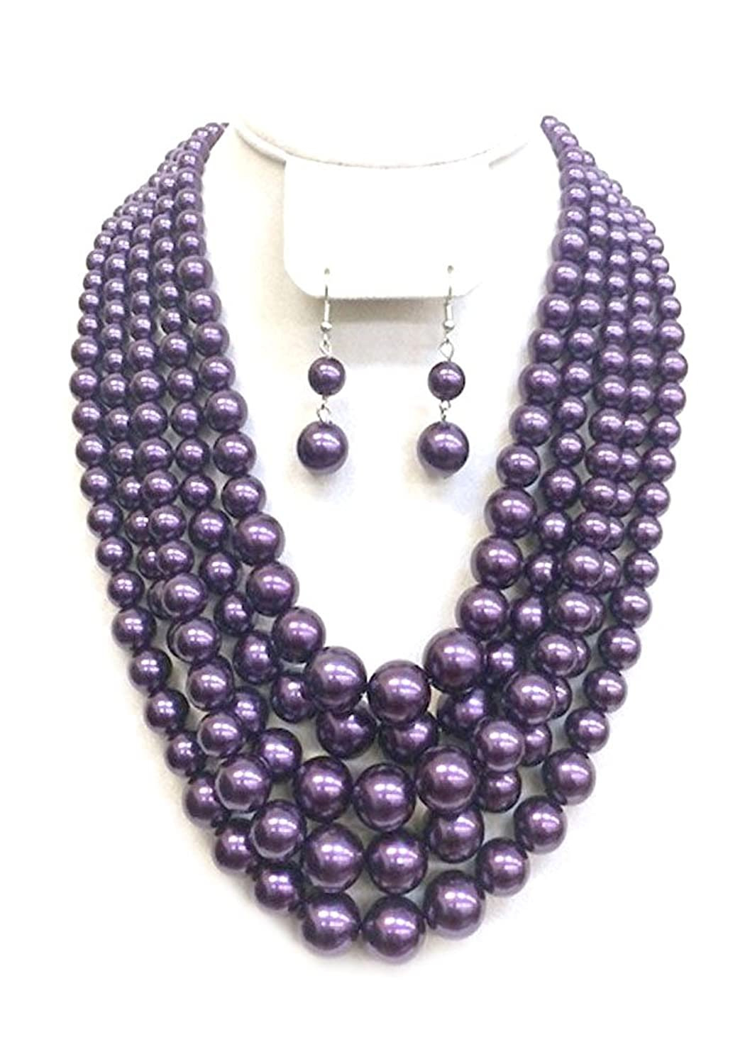 cheap Pearl Multi Layered Necklace Set CENPY043 free shipping
