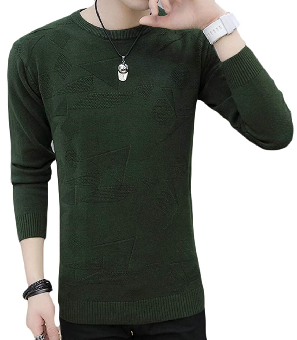 HTOOHTOOH Mens Crewneck Solid Knitted Base Casual Slim Fit Pullover Sweaters