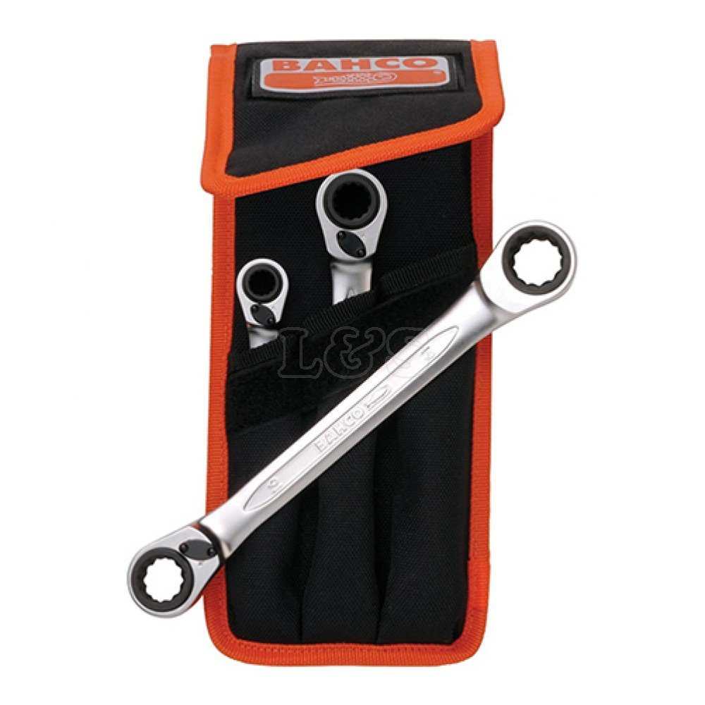 BAHCO S4RM3T 3 Piece Reversible Ratchet Spanner Set