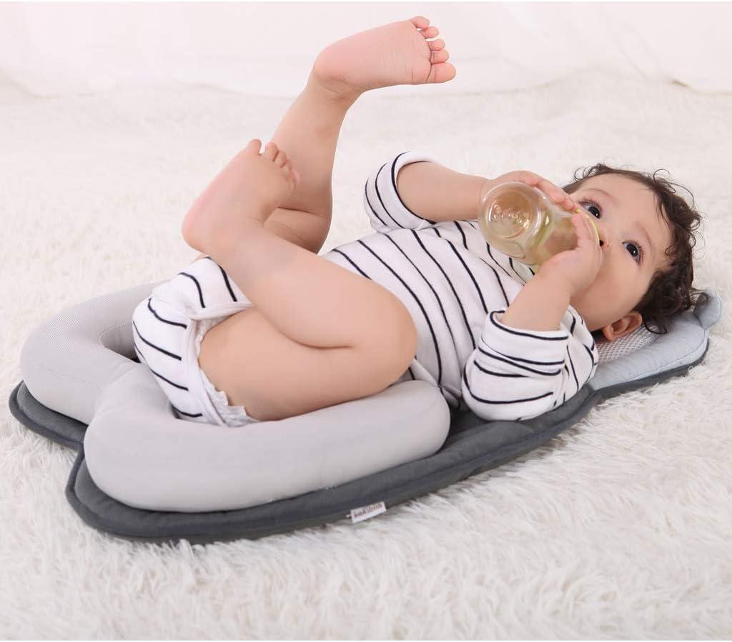 Vocheer Colch/ón para Cama de beb/é Apto para beb/és reci/én Nacidos y beb/és de 0 a 12 Meses Oso Blanco Almohada Protectora para beb/é con Almohadas de Lactancia