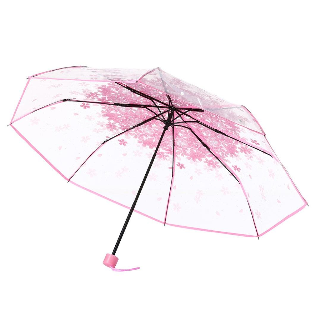 HHei_K Fashion Anti-UV Sun/Rain Transparent Clear Umbrella Cherry Blossom Mushroom Apollo Sakura 3 Fold Umbrella (Pink)