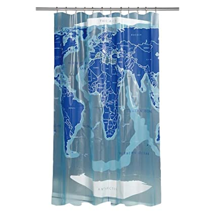 Croydex AE580815YW World Map Shower Curtain White