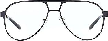 8cd3e4eb0ee TIJN Retro Aviator Eyeglasses Metal Pilot Eyewear Frame Flat Top Lens  Glasses for Women Men