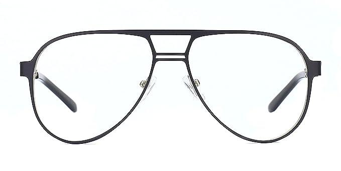 TIJN Retro Aviator Eyeglasses Metal Pilot Eyewear Frame Flat Top Lens  Glasses for Women Men 3ce9a7e2d24