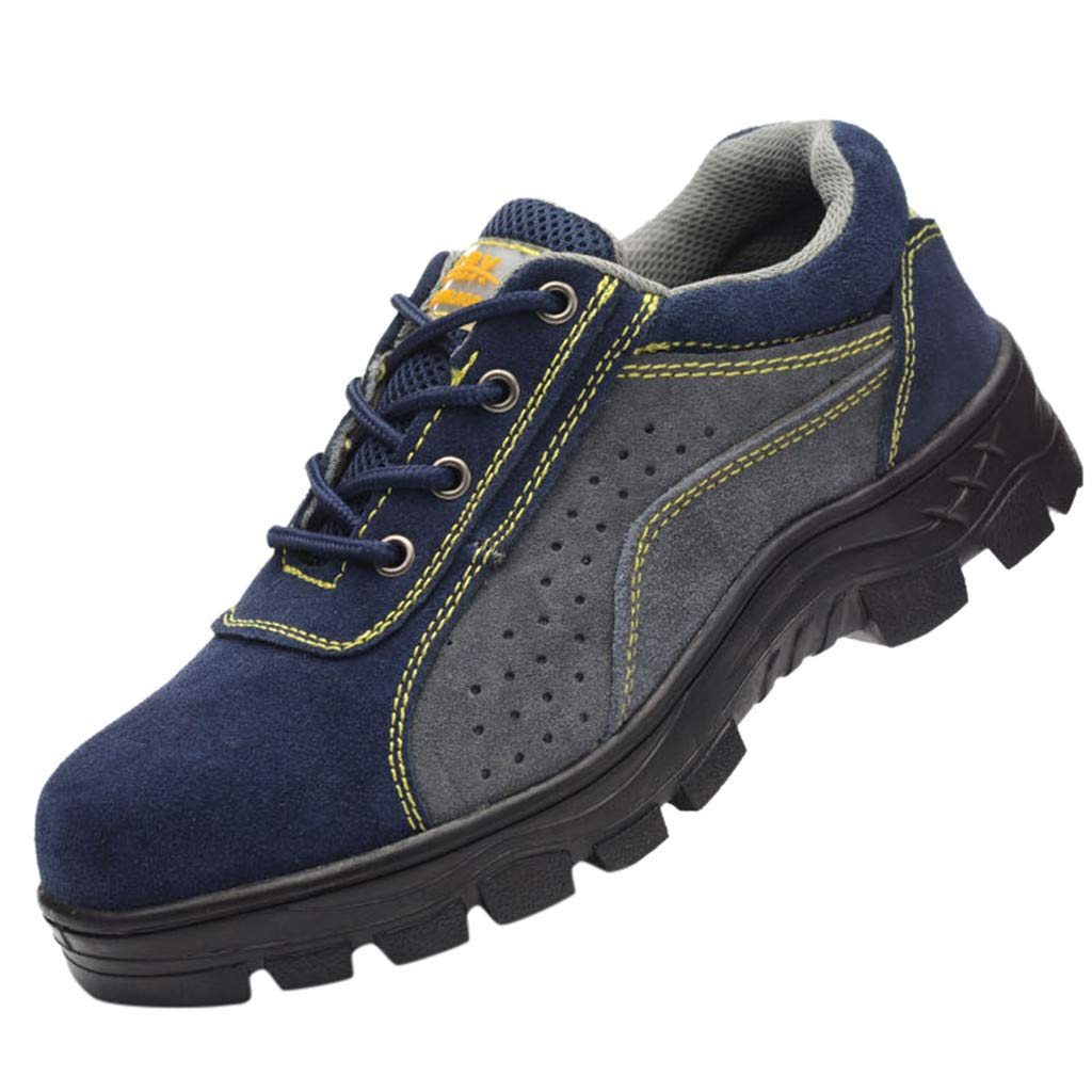 Mens Steel Toe Work Shoes Breathable Wear Resistant Safety Shoes for Heavy Duty Work Blue by Corriee