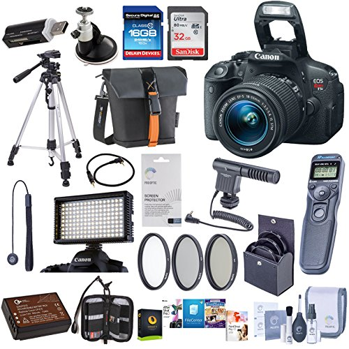 Canon EOS Rebel T6 DSLR Camera Kit with EF-S 18-55mm f/3.5-5.6 IS II Lens - Bundle With 32/16GB SDHC Card, Camera Bag, Spare Battery, Tripod, Video Light, 58mm Filter Kit, Remote Shutter Trigger, More