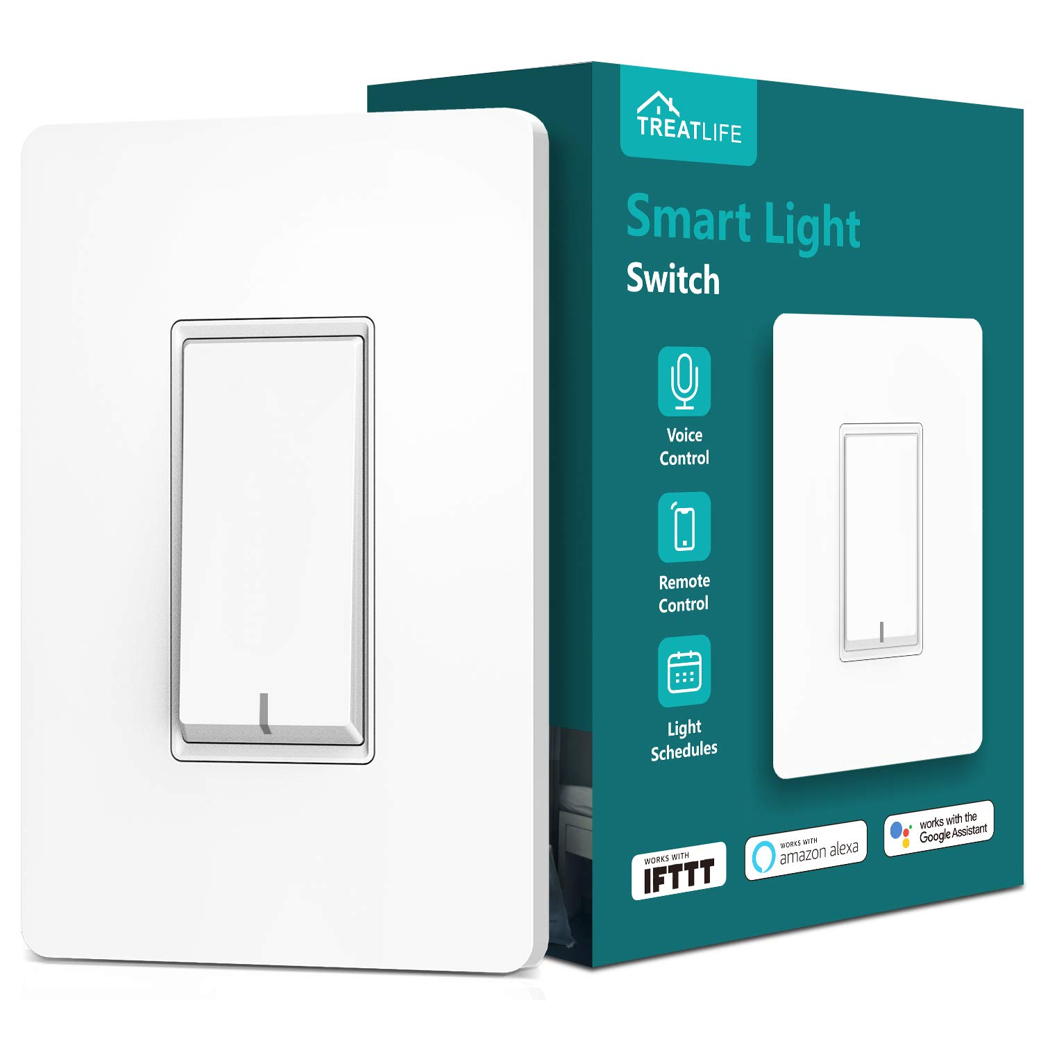 Treatlife Smart Light Switch, Neutral Wire Needed, 2.4Ghz Wi-Fi Light Switch, Works with Alexa, Google Assistant and IFTTT, Schedule, Remote Control, Single Pole, ETL Listed (1 PACK) by TREATLIFE