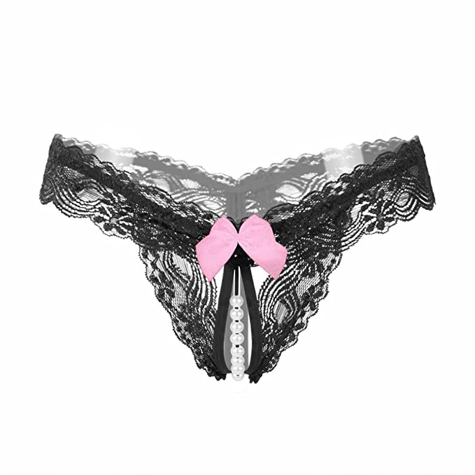 428b51721f0 Tenworld Women Sexy Lingerie Underwear Lace Pearl Crotchless Thong (Black)