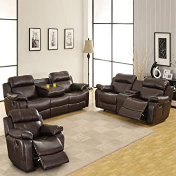 Amazon Com Darrin Leather Reclining Sofa Set With Console