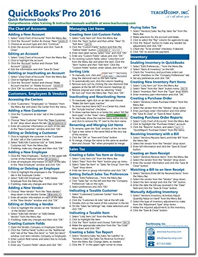 QuickBooks Pro 2016 Quick Reference Training Card - Laminated Tutorial Guide Cheat Sheet (Instructions and Tips)