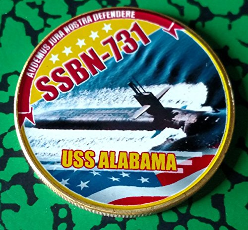 (Navy USS Alabama Submarine SSBN-731 Colorized Art Coin)