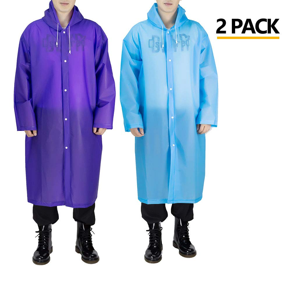 Opret Portable Adult Rain Poncho(2 Pack), Reusable Raincoat with Hoods and Sleeves, Size 45.2'' by 24.8''(Blue&Purple)